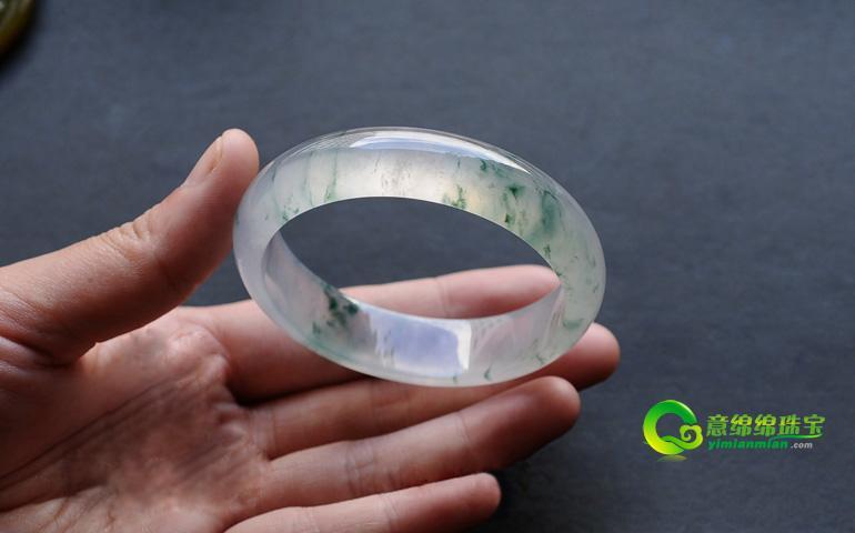 20109483玻璃种飘花翡翠手镯