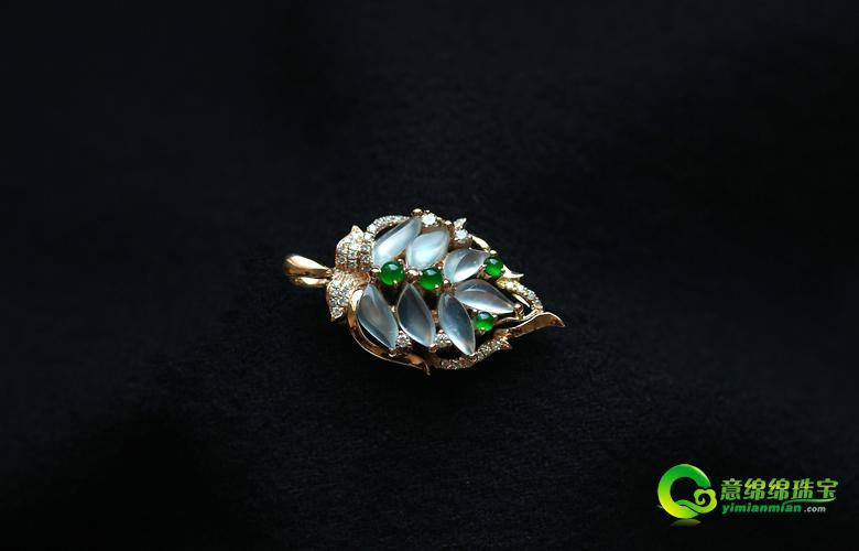缅甸老坑玻璃种天然翡翠a货玫瑰金钻石玉叶子吊坠