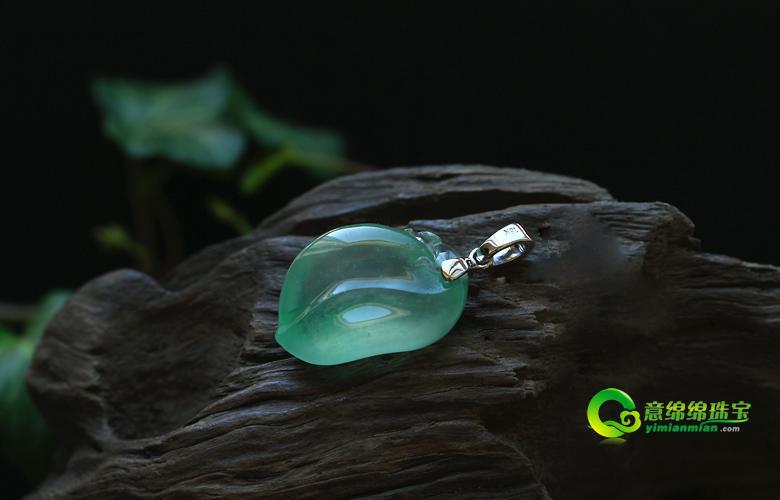 缅甸老坑玻璃种满绿天然翡翠a货玉福瓜吊坠-意绵绵珠宝